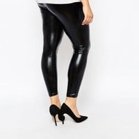 Plus Size Black Pvc Vinyl Leggings