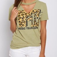 MTV Leopard Cutout Tee | Graphic Tees | rue21
