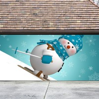 Christmas Garage Door Cover Banners 3d Snowman Holiday Outside Decorations Outdoor Decor for Garage Door G47