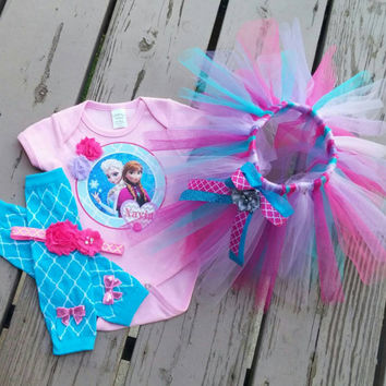 Anna and Elsa Frozen Themed Birthday Outfit - Girls Party outfit -  Gift - Dress Up - Frozen
