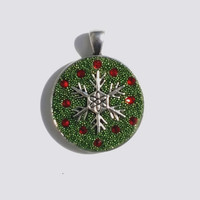 Christmas Pendant, Necklace,  Metal Snowflake Surrounded by Red Swarovski Crystals in White Crystal Clay and Covered with Green Micro Beads