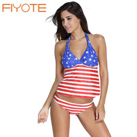 FIYOTE Hot Woman Tankini Top maillot de bain Stars and Stripes US Flag 2 pcs Tankini Swimsuit plus size shorts bikinis LC41942