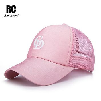 [Rancyword] Branded Summer Mesh Baseball Caps Women 2017 Embroidery Letter Sun Hats Lady Snapback cap Visor Hip Hop RC1120