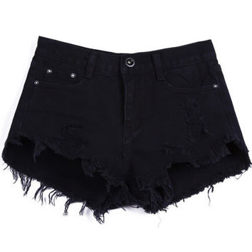Black Buttons Ripped Fringed Denim Shorts