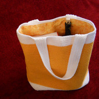 Crochet bag, lined tote bag, crochet tote  - reusable shopping bag, beach bag, 100% cotton in Mango and White