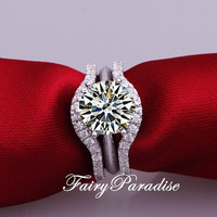 3 pcs Bridal Wedding Ring Set : 2 ct (8 mm) Round Cut Man Made Diamond Solitaire Engagement ring + 2 Curve Wedding Bands (FairyParadise)