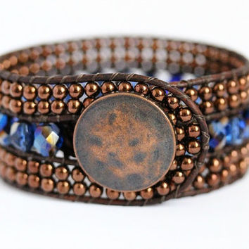 Leather Beaded Cuff, Wrap Bracelet, Sapphire, Copper, Bohemian Style Jewelry