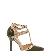Rock Out Studded Faux Patent Heels