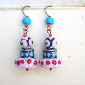 Hippie earrings, Polka dot, Colorful, Gypsy soul, hippie chic, multicolor, rock cairn, red turquoise, dzi, Best Etsy Shop