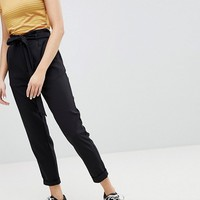 Pull&Bear Paper Bag Waist Relaxed Trousers at asos.com