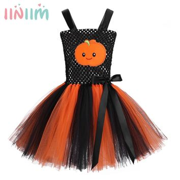 iiniim Kids Girls Fairy Party Dress Adjustable Shoulder Straps with Pumpkin Pattern Tutu Dress for Halloween Cosplay Costumes