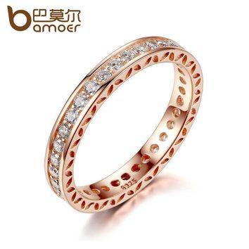 BAMOER Classic Wedding Finger Ring Rose Gold Color Rings with Zircon 3mm Width Fashion Ring Jewelry PA7215