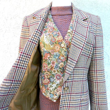 Annie Hall Lives, Vintage 80s Plaid Wool Blend BLAZER in Tan, Maroon, Mustard, and Hunter Green, Sexy Office Wear - Size Medium M 8