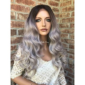 "Icy Ash Blonde Human Hair Blend Multi Parting Balayage Ombré 4x4 SILK BASE Lace front wig 24"" 5172"