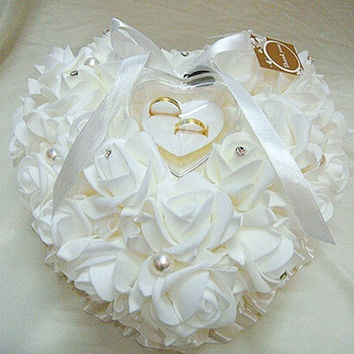 Wedding Favors Ring Pillow With Transprent Ring Box 8 Color Heart Design = 1932624772