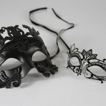His & Hers Masquerade Mask Set, Lover's Collection, Couple's Venetian Mask Set, GM003BK, K2001BK