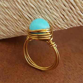 Turquoise stone copper statement ring stud ring vintage