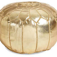 Moroccan Leather Pouf, Gold, Poufs