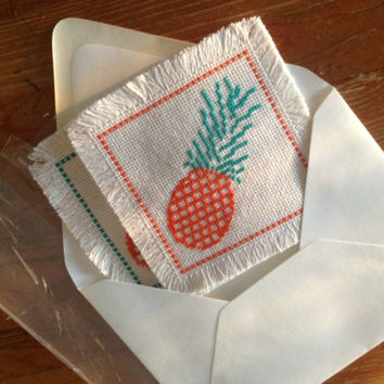 Half cross stitch pineapple coasters A pair of coaster Fabric coasters Beverage coasters Tent stitch coaster set of two