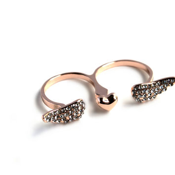 """""""Wingin' It"""" Gold Two Finger Ring With Diamond Accents"""