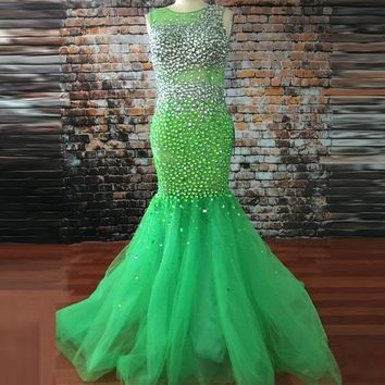 Luxury Evening Dresses 2018 Mermaid Robe de soiree longue Open Back Lime Green Evening Gowns Sexy Women Formal Party Dresses