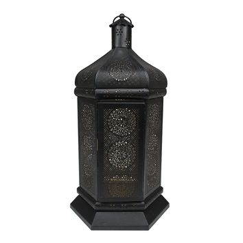 "21.5"" Black and Gold Moroccan Style Floral Cut-Out Pillar Candle Lantern"