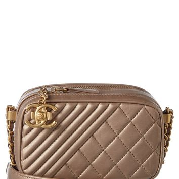 Chanel Chanel Bronze Quilted Lambskin Leather Coco Boy Camera Bag | Bluefly.Com