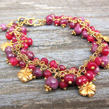 Natural ruby bracelet Flower bracelet Gold bracelet Bracelet with charms Luxury gifts for her Ruby wedding gifts Ruby anniversary gifts