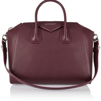 Givenchy - Medium Antigona bag in burgundy textured-leather