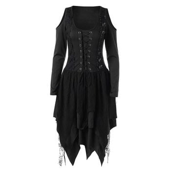 Rosetic Gothic Women Dress Winter Long Sleeve Lace Dresses Irregular Patchwork Women Off The Shoulder Sexy Party Bandage Dress