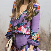 Jessie's Girl Purple Floral Print Long Sleeve Romper