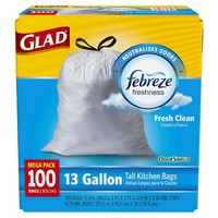 Glad OdorShield Fresh Clean Tall Kitchen Quick-Tie Trash Bags 13 gal 100 ct
