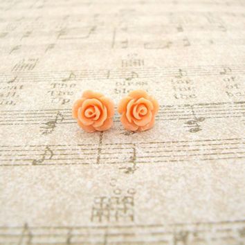 Coral Rose Earrings - Resin Flowers and Antiqued Brass - Simple Resin Rose Studs