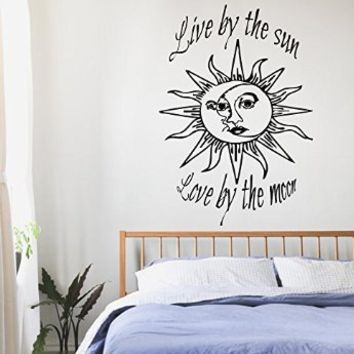 Wall Decals Vinyl Decal Sticker Children Kids Nursery Baby Room Interior Design Home Decor Quotes Sun Moon Crescent Dual Ethnic Stars Night Symbol Sunshine Live By the Sun Love By the Moon Kg667