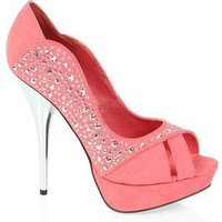 coral peep toe pump with multi shaped studs - debshops.com