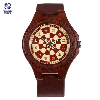 Chess Wood Quartz Watch Checkers Clock Handmade Wrist Watches Wooden Straps Anime Game life for Male Man gift