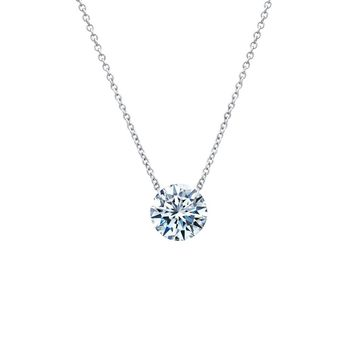 Lafonn Lassaire In Motion Sterling Silver Platinum Plated Lassire Simulated Diamond Necklace (2 CTTW)