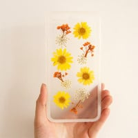 Pressed flower  iphone case,iphone 6 case,iphone 6 plus case,Yellow flower iPhone 5 /5s case, flowers iphone 5c case,iphone 5s cases
