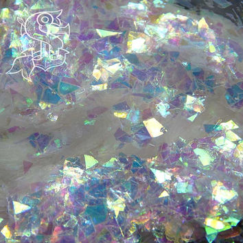 "Iridescent white/light blue mylar ""Icicle"" glitter, nail art 10gr, UV resin, rainbow holographic , not solvent resist"