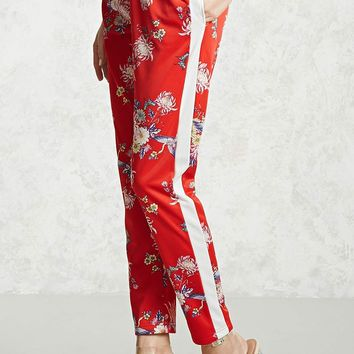 Floral Satin Drawstring Pants