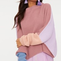 Pink Oversized Colourblock Jumper