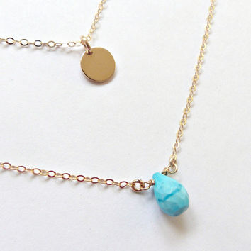 Turquoise Necklace, Set of 2, Gold disc and Turquoise, Layered Necklace,  Everyday Jewelry, Arizona Turquoise, Sleeping Beauty