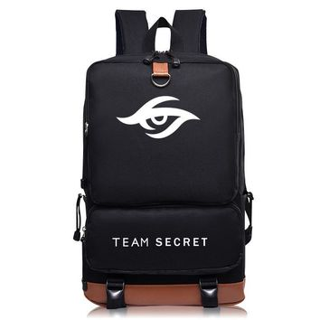 2016New listing backpack DOTA 2 Team Secret logo Student backpack computer Oxford canvas bag
