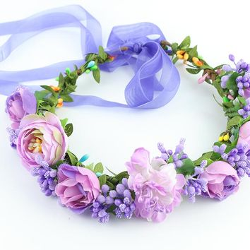 Kids baby 11 colors  flower forehead hair wedding Floral garland with Ribbon Adjustable girls flower crown women flower wreath