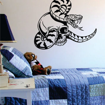 Skull and Snake Art Decal Sticker Wall Vinyl