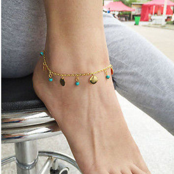 Cute Sexy Jewelry Gift Ladies Shiny New Arrival Fashion Accessory Turquoise Pendant Stylish Hot Sale Anklet [6768766855]