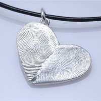 Sterling Silver Custom Double Thumbprints Pendant or by fabuluster