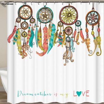 Feather House Decor Shower Curtain Primitive Hippie with South Western Dove Eagle Hawk Raven Feathers Artwork Fabric