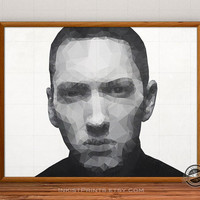 Eminem Print, Eminem poster, Marshall Mathers Wall Decor, Rapper, Geometric Illustration, Rap God, M&M, D12, Hip Hop, Polygon Wall