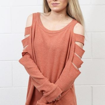 Brushed Cashmere Cutout Sleeve Sweater {Muted Orange}